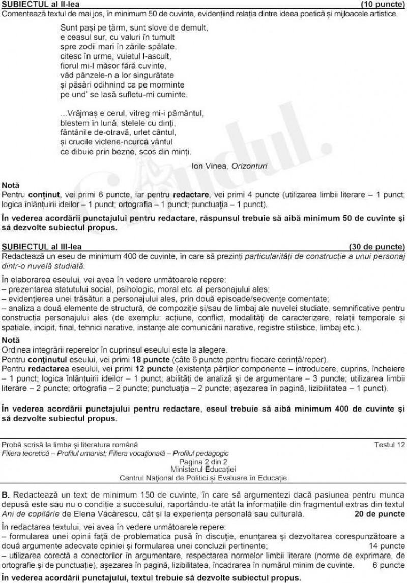 Subiecte Limba română, profil uman, Bacalaureat 2021