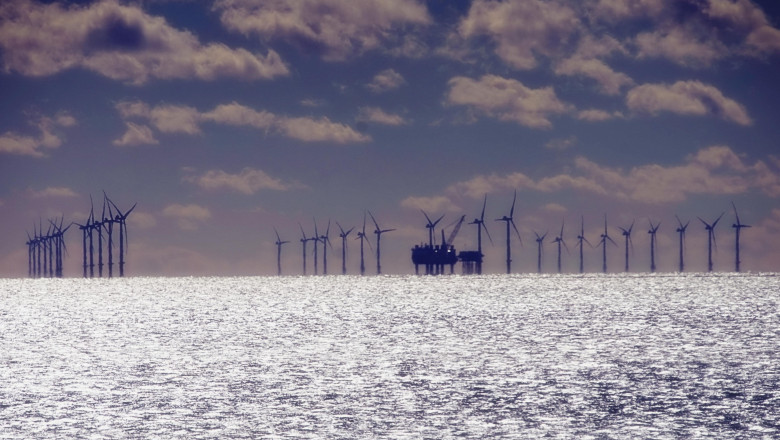 Windfarm Turbines out to Sea Sussex England UK