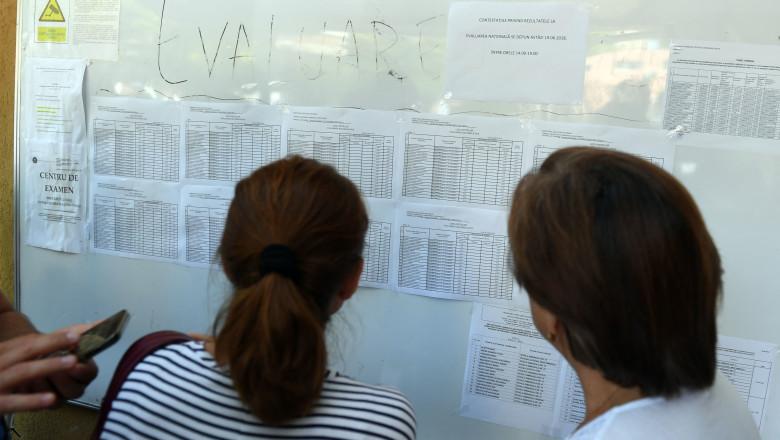 doua persoana se uita la un panou cu rezultate la evaluare nationala 2021
