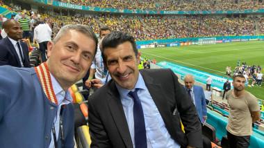 Vicepremierul Dan Barna, alături de Luis Figo, pe Arena Națională, la meciul Franța - Elveția.