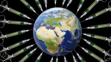 ilustratie cu globul pamantesc si seringi