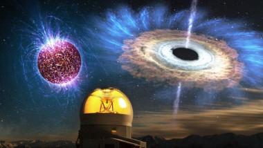 Stea neutronică și gaură neagră în fața unui observator astronomic