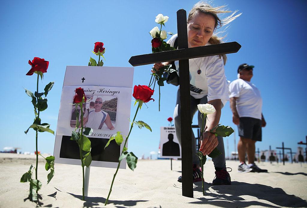 Memorial Of Black Crosses Honors Police Officers Killed In Rio
