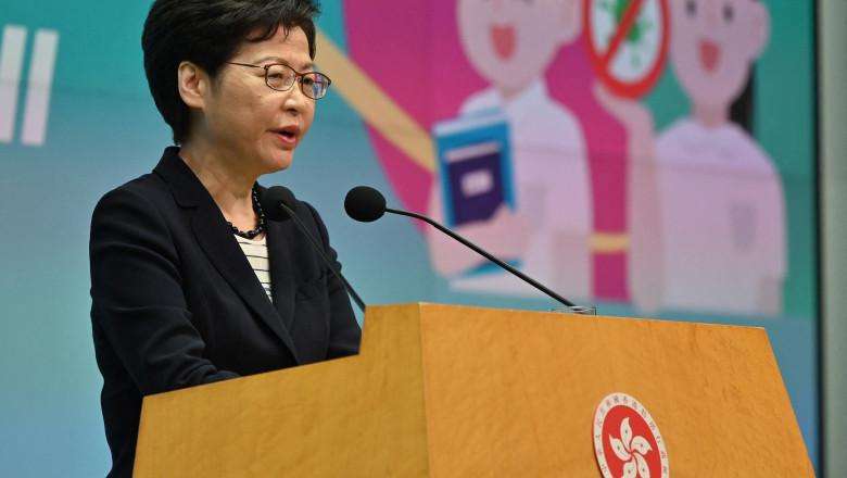 Carrie Lam în conferintade presă