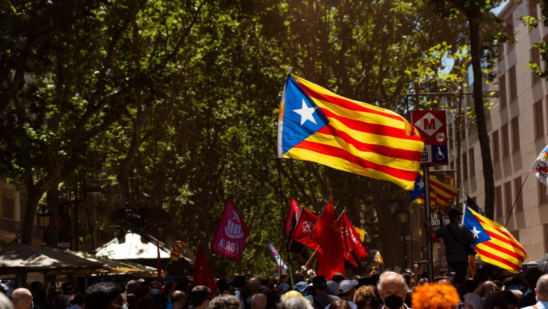 Spain: Pro Catalonia independence crowds protest against Spanish Prime Minister visit to Barcelona