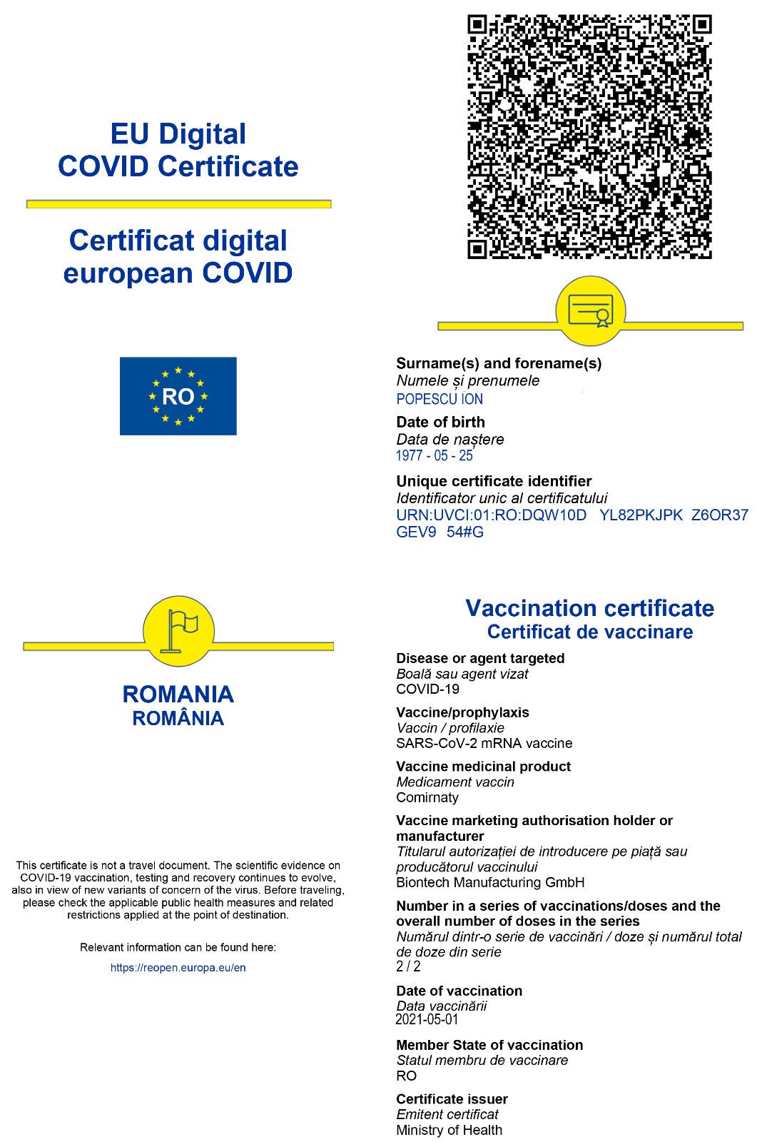 certificat digital covid mare