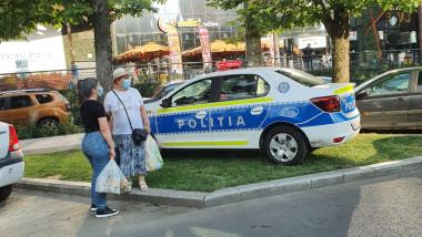 masina de politie pe iarba