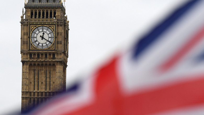 Steag al Marii Britanii cu Big Ben în fundal.
