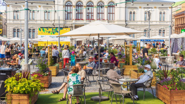 New big terrace with restaurantsopened at Keskustori square in tTampere Finland