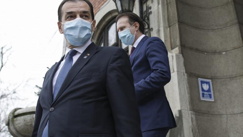 Orban și Cîțu pe treptele sediului PNL.
