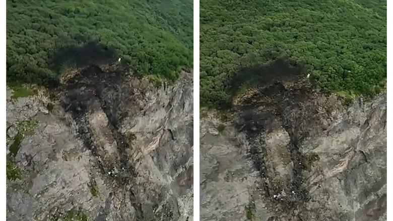 Locul în care s-a prăbușit avionul din peninsula Kamceatka