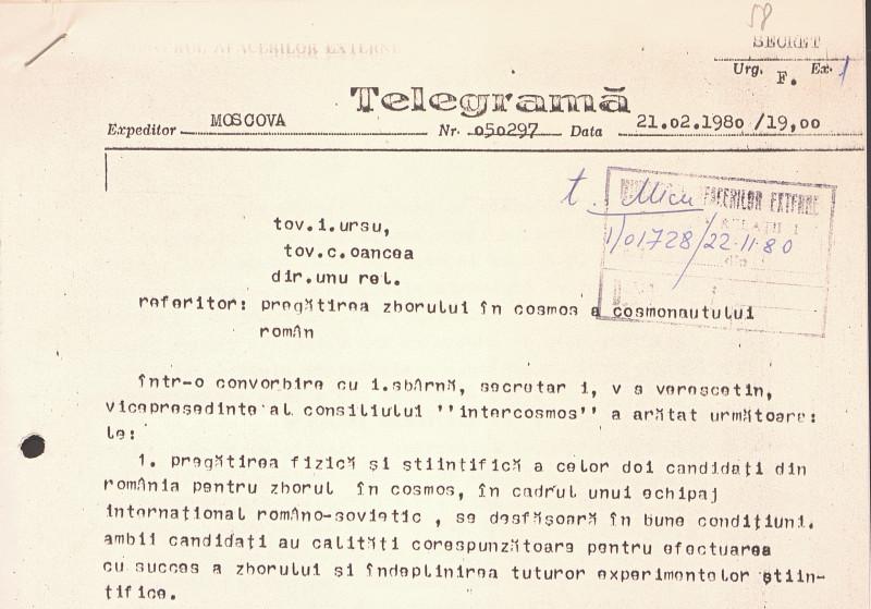 Telegramă MAE despre misiunea spațială Soiuz în care a fost lansat în spațiu cosmonautul român Dumitru Prunariu
