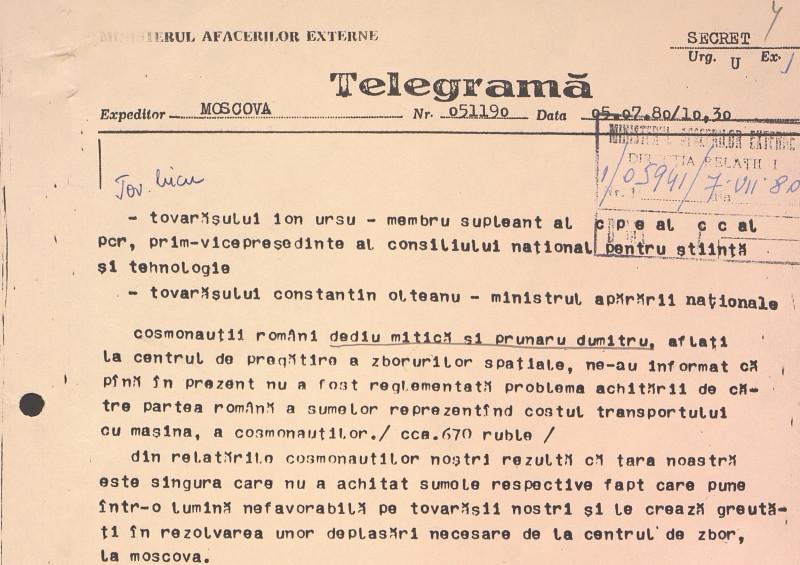telegramă MAE din timpul pregătirii misiunii Soiuz pentru zborul în spațiu româno-sovietic
