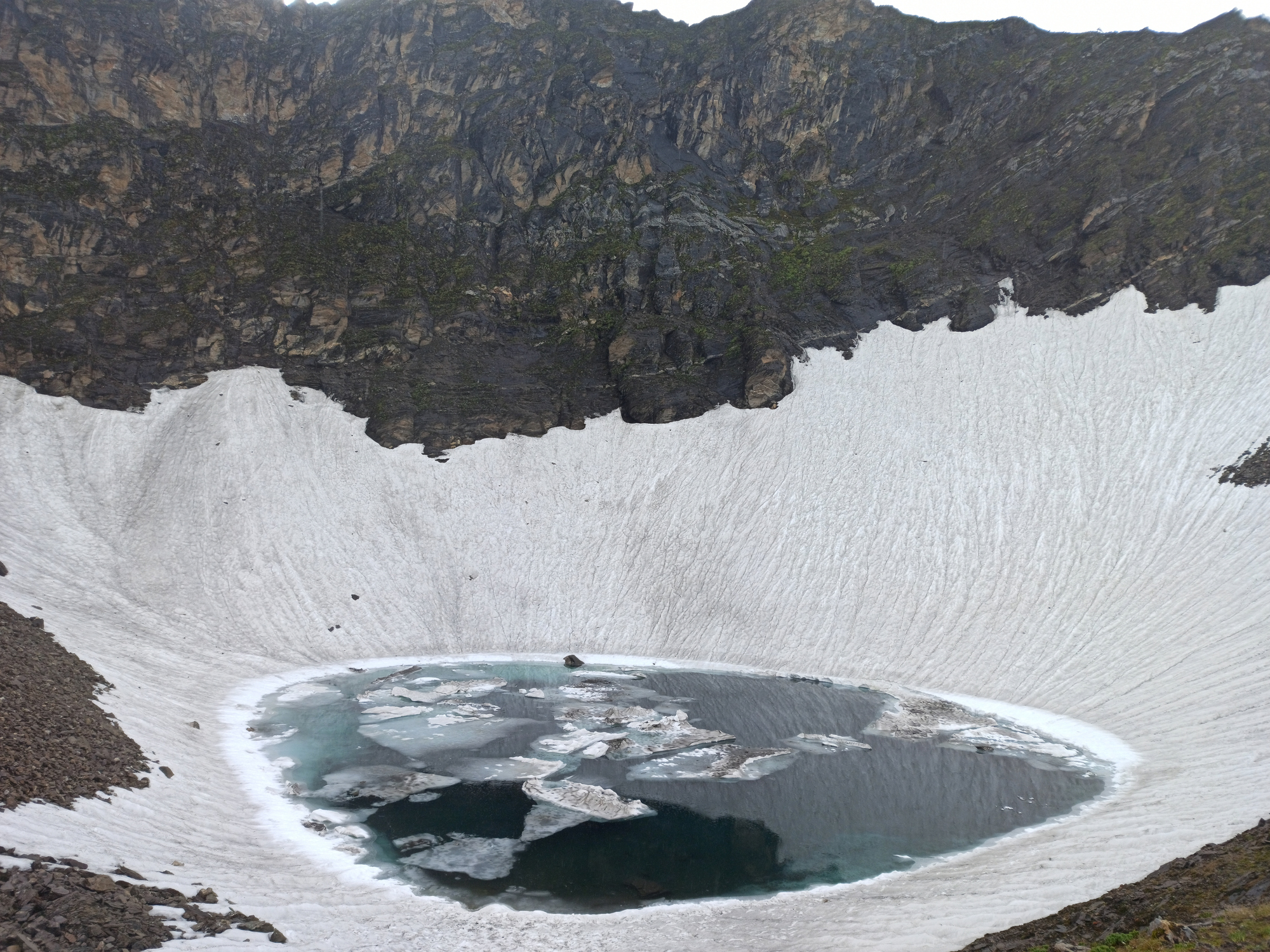Panoramic view of Roopkund Lake(a glacial lake) in himalayas region of uttarakhand, india.