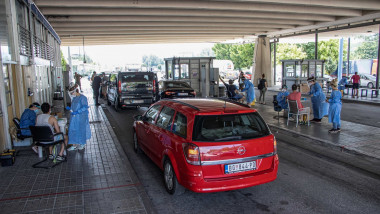 Covid 19 border crossing tests in Promachonas, Greece - 13 Jul 2020