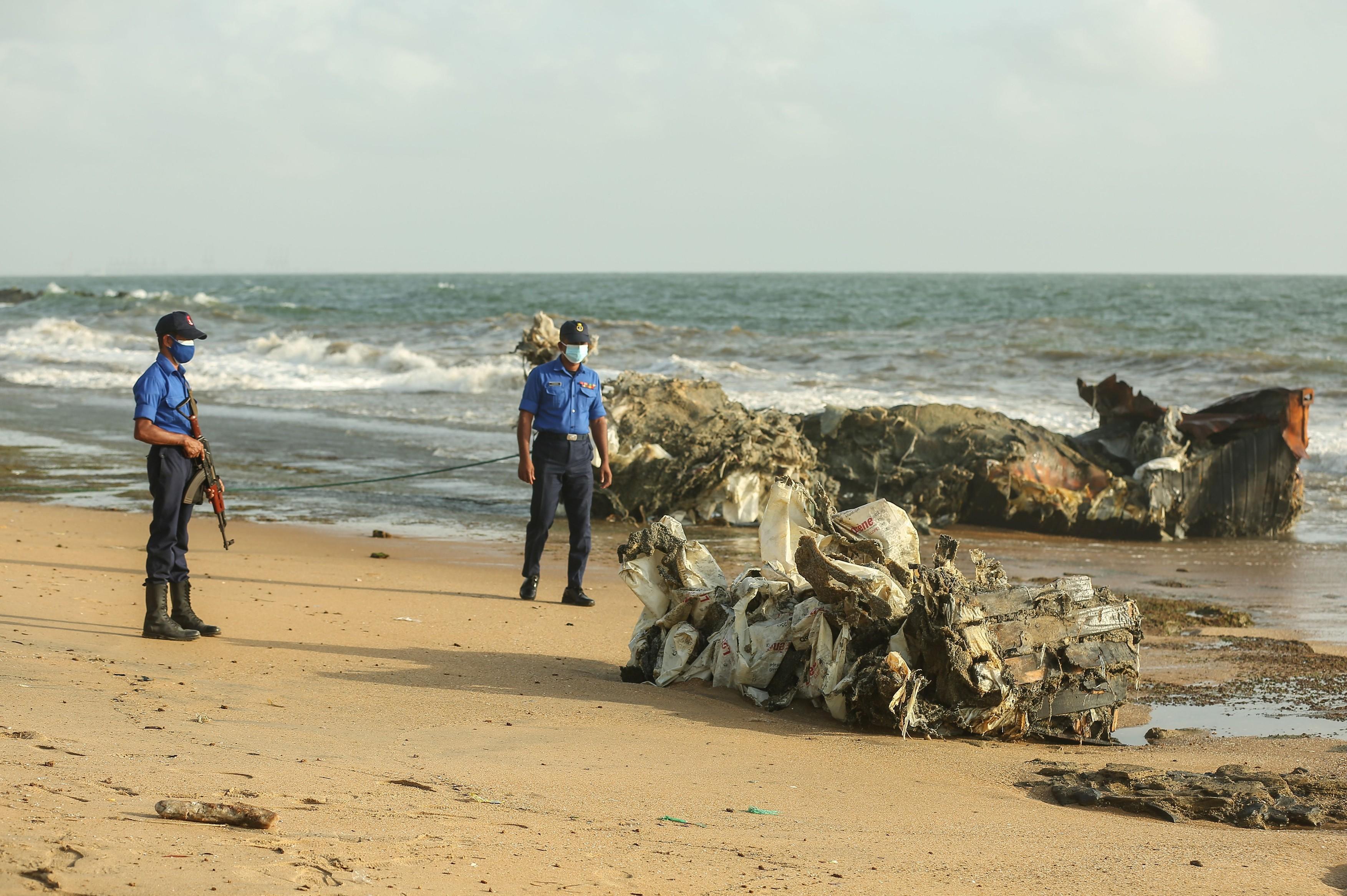 Debris of the container ship X-Press Pearl, Colombo, Sri Lanka - 20 Jun 2021