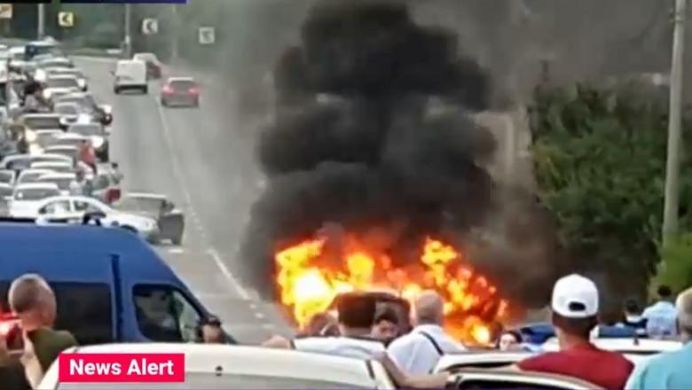 masina care arde in trafic la agigea