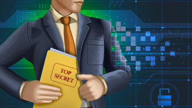 Man in a business suit stealing some classified documents. Digital illustration.