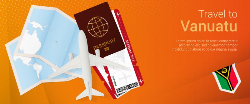Travel to Vanuatu pop-under banner. Trip banner with passport, tickets, airplane, boarding pass, map and flag of Vanuatu.