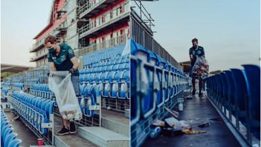 Colaj foto: Pilotul Sebastian Vettel stânge gunoiul din tribune.