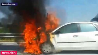 Mașină în flăcări peAautostrada A3