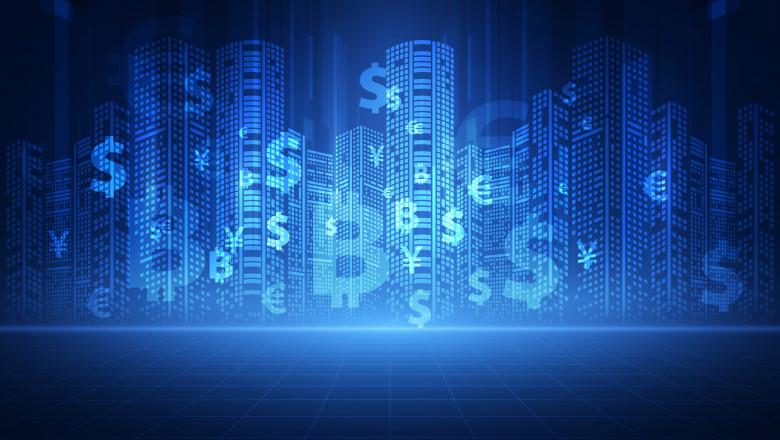 simboluri de monede si criptomonede pe fond digutal