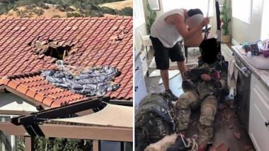Parașutist căzut în casa unor oameni.