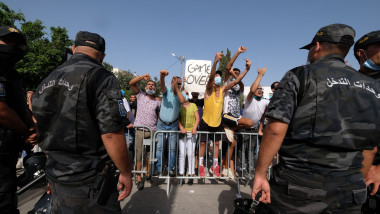 Clashes between Ennahdha supporters and President Kais Saied supporters, Bardo, Tunisia - 26 Jul 2021