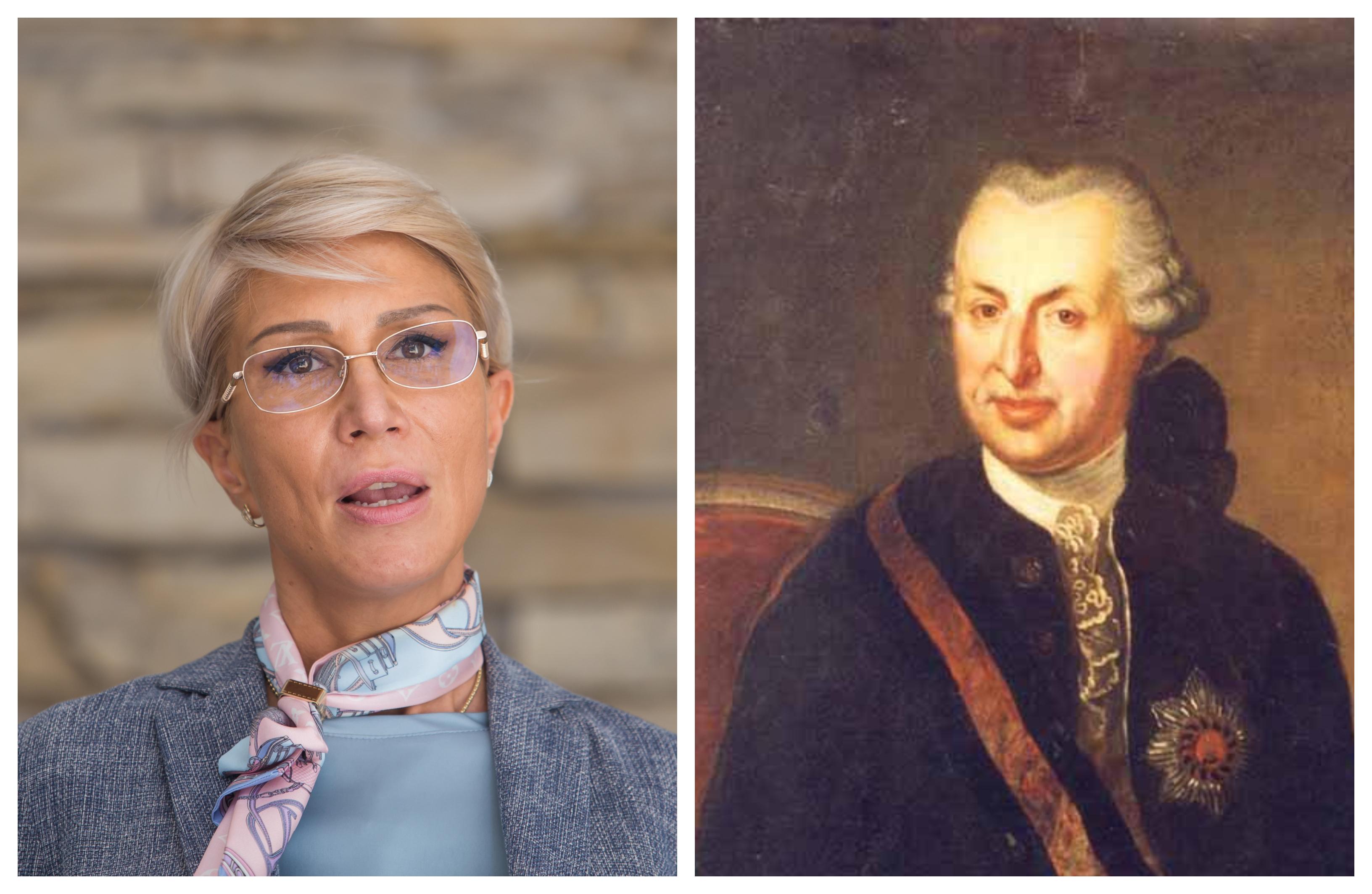 """Raluca Turcan i-a urat """"La multi ani"""" baronului Samuel von Brukenthal. Acesta a murit in 1803"""