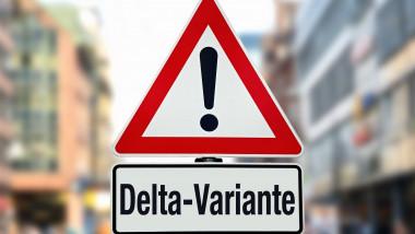"""semn de atentie sub care scrie """"varianta delta"""""""
