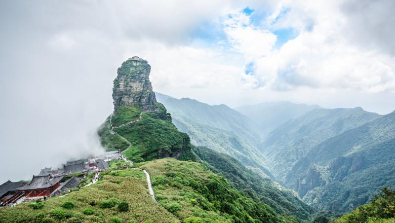 Panorama of Fanjingshan new gold summit and valley view in Fanjing mountain in Guizhou China