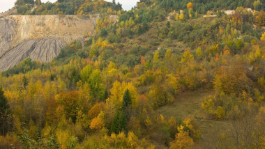 Rosia Montana in the Metaliferi Mountains; old gold workings now proposed site of Europe's largest opencast gold mine, Romania