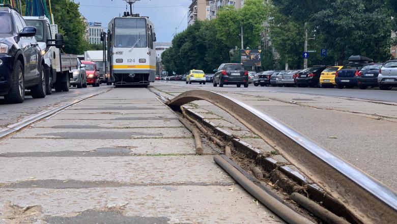 Un nou incident în transportul cu tramvaiul din București: O șină s-a dilatat și a ieșit din asfalt