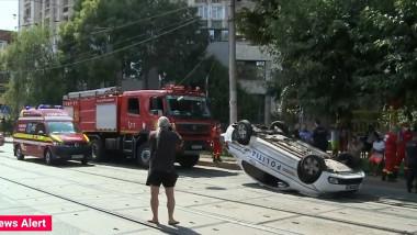masina politie rasturnata