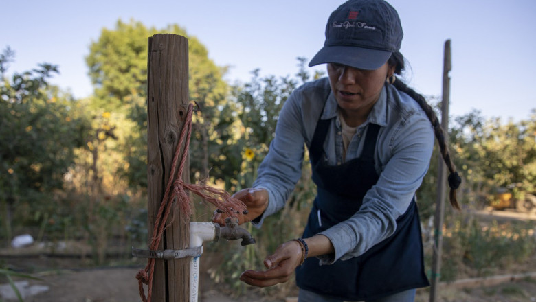 Very little water comes out of a spigot at Liset Garcia's Sweet Girl Farms stand where a well went dry last month