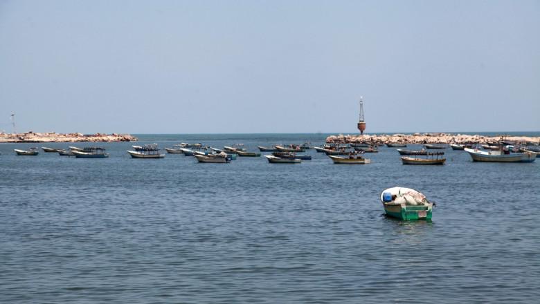 Palestinian fishermen work at Gaza City's main port, Gaza city, Gaza Strip, Palestinian Territory - 26 Jul 2021