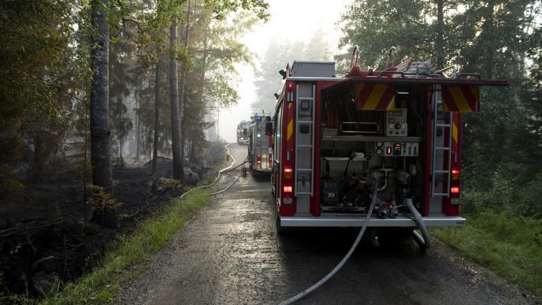 Mașini de pompieri într-o pădure din Finlanda.