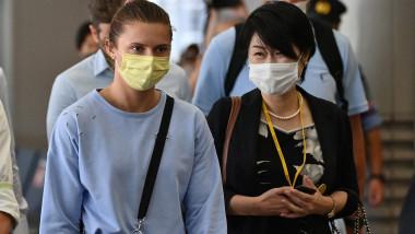 Două femei cu mască de protecție