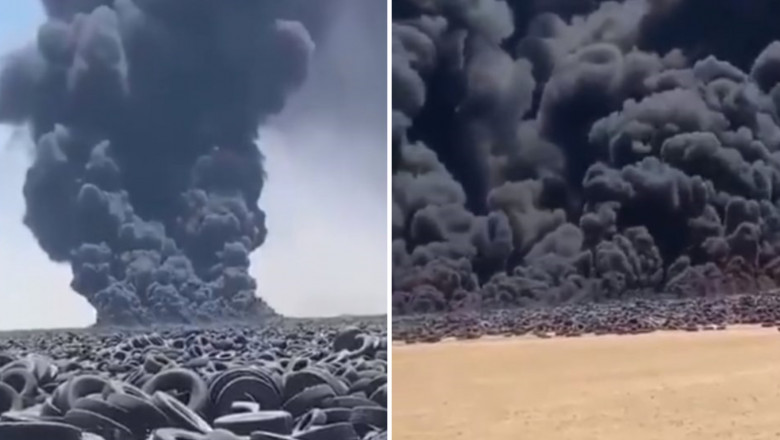 pneurti care ard într-un depozit din Kuweit.