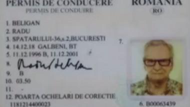 Permisul de conducere al lui Radu Beligan.