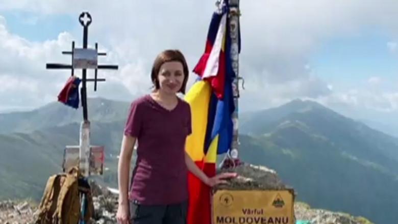 Maia Sandu pe vârful Moldoveanu.