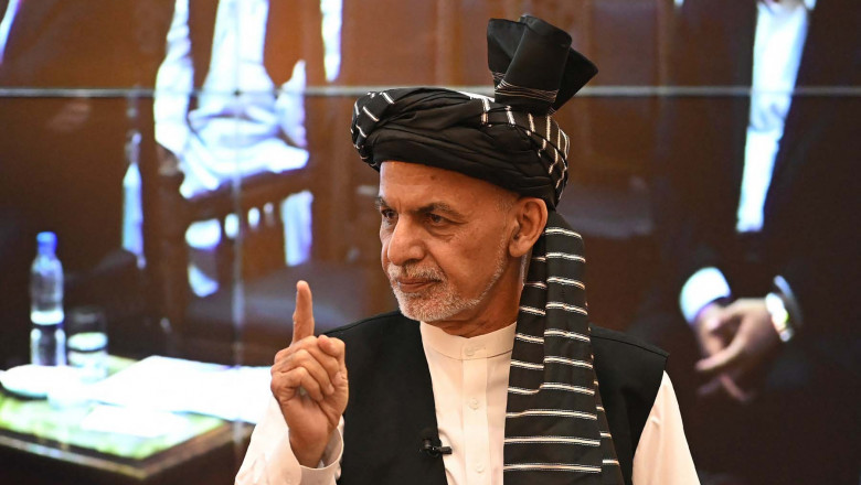 Afghanistan's President Ashraf Ghani gestures during a function at the Afghan presidential palace in Kabul