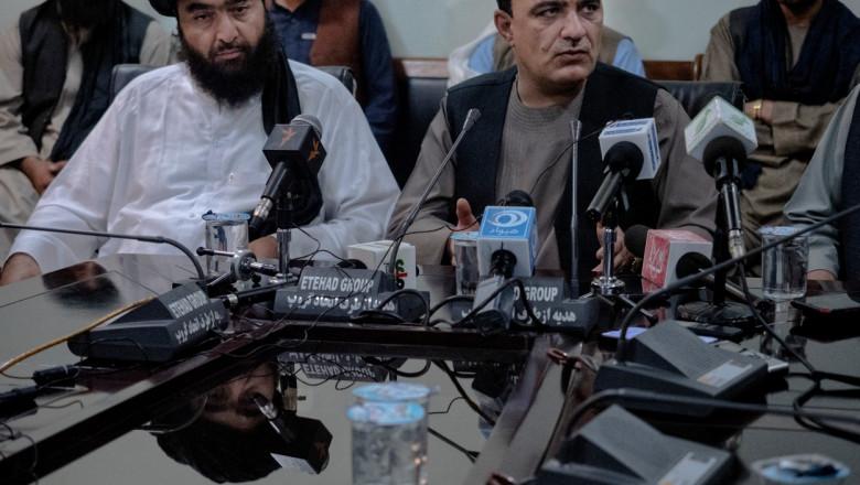 lideri talibani la o conferință de presă la Kandahar