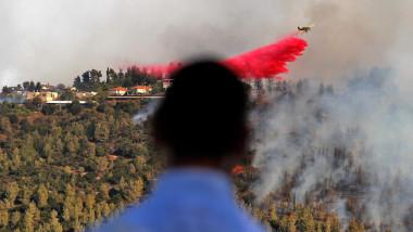 Incendiu de vegetație în apropiere de Ierusalim.