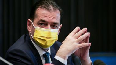 Ludovic Orban poartă mască la o ședință.
