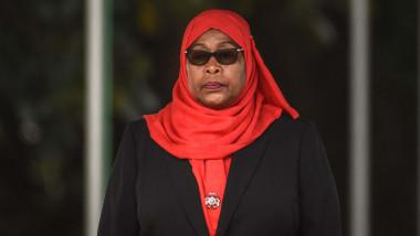 Tanzanian President Samia Suluhu Hassan in red scarf