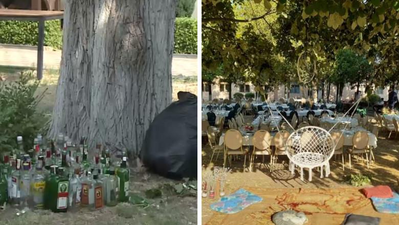 Imagini cu sticle goale rămase după o nuntă.