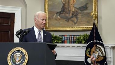 Joe Biden la o conferință de presă în Biroul Oval, pe tema retragerii din Afganistan