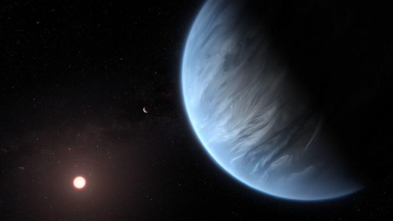 ilustrație a planetei K2-18B, despre care se crede că ar putea susține viață extraterestră