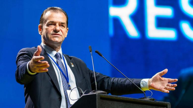 Ludovic orban gesticuleaza la pupitru in timpul unui discurs